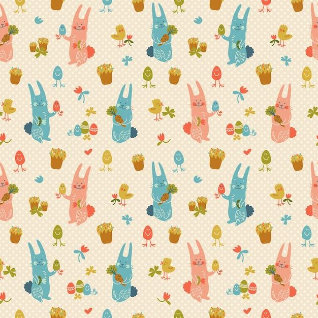 Padrão sem emenda texturizado de feliz páscoa em tons pastel com flores de coelhos, ovos, cenouras e garotas doodle Vetor grátis