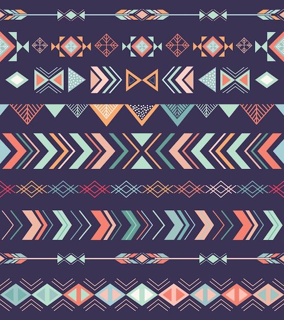 Padrão sem emenda tribal asteca com elementos geométricos Vetor Premium