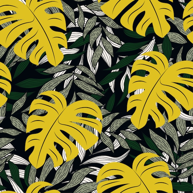 Padrão sem emenda tropical colorido com plantas Vetor Premium
