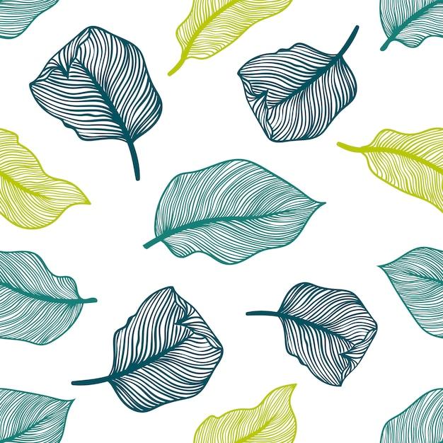 Padrão sem emenda tropical com folhas de palmeira exóticas. Vetor Premium