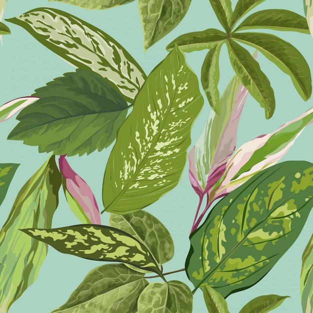 Padrão sem emenda tropical com folhas de palmeira para papel de parede Vetor Premium