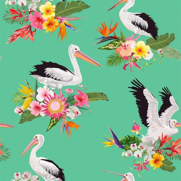 Padrão sem emenda tropical com pelicanos e flores Vetor Premium