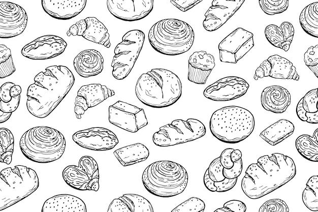 Padrão sem emenda. vário cozimento. pão. estilo doodle. para o seu design. Vetor Premium