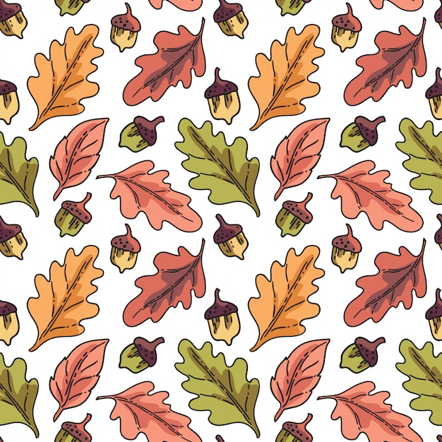 Padrão sem emenda vector com folhas de outono Vetor Premium