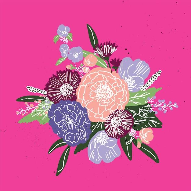 Padrão simples buquê floral Vetor Premium
