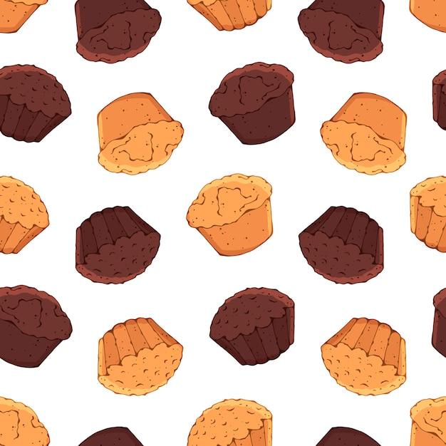 Padrão sobre o tema de doces: cupcakes. Vetor Premium