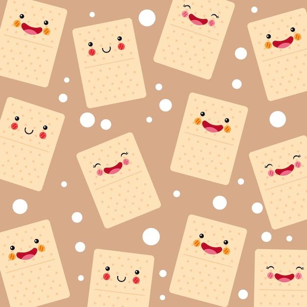Padrão sorridente de biscoitos refrigerantes fofos e engraçados Vetor Premium