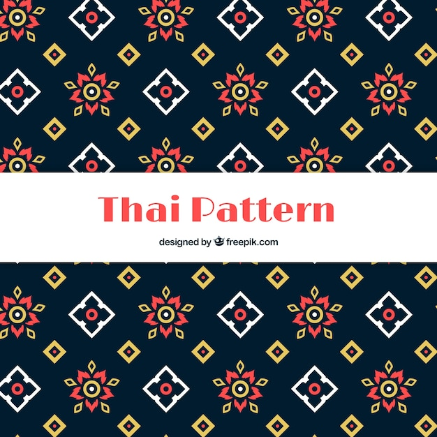 Padrão tailandês colorido com design plano Vetor grátis