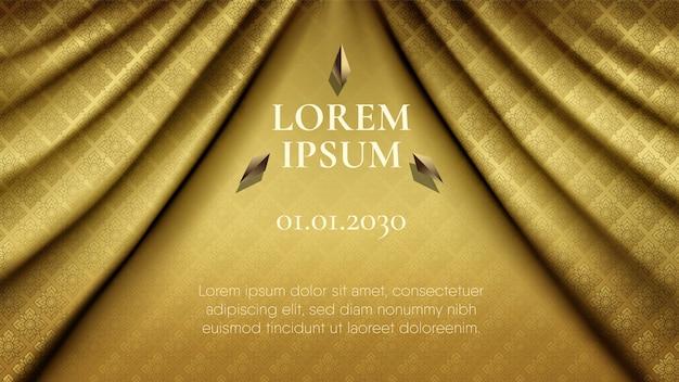 Padrão tailandês tradicional abstrato no fundo da cortina de tecido de seda ouro escuro suave ondulado premium Vetor Premium