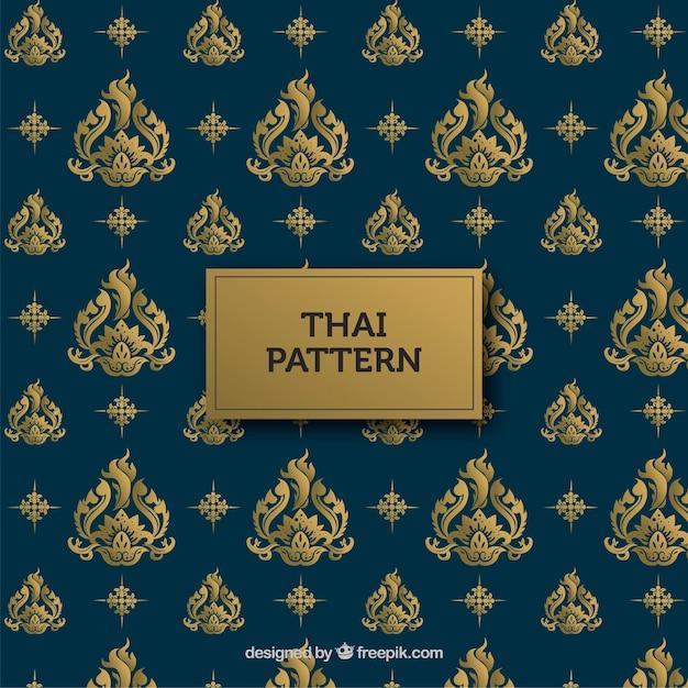 Padrão tailandês tradicional com estilo dourado Vetor grátis