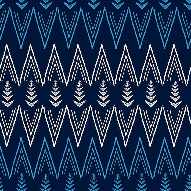 Padrão tribal ziguezague africano com mão desenhada multicolor Vetor Premium