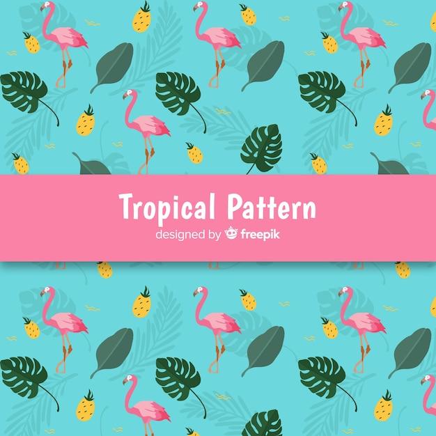 Padrão tropical colorido mão desenhada Vetor grátis