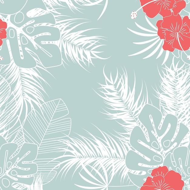 Padrão tropical transparente de verão com folhas de palmeira de monstera e flores no fundo azul Vetor Premium