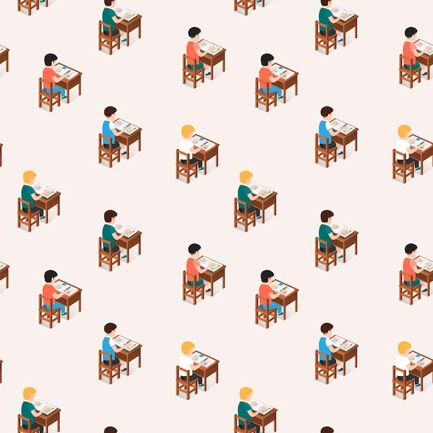 Padrão uniforme de alunos sentados na sala de aula Vetor Premium