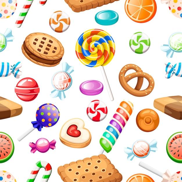Padrão uniforme. grande coleção de biscoitos e doces de estilo diferente dos desenhos animados. embrulhado e não pirulitos, cana. doces bonitos e brilhantes. ícones coloridos planos. ilustração em fundo branco. Vetor Premium