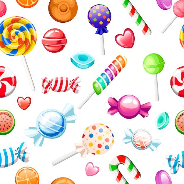 Padrão uniforme. grande coleção de doces de estilo de desenho animado diferente. embrulhado e não pirulitos, cana, doces. doces bonitos e brilhantes. ícones coloridos planos. ilustração em fundo branco. Vetor Premium