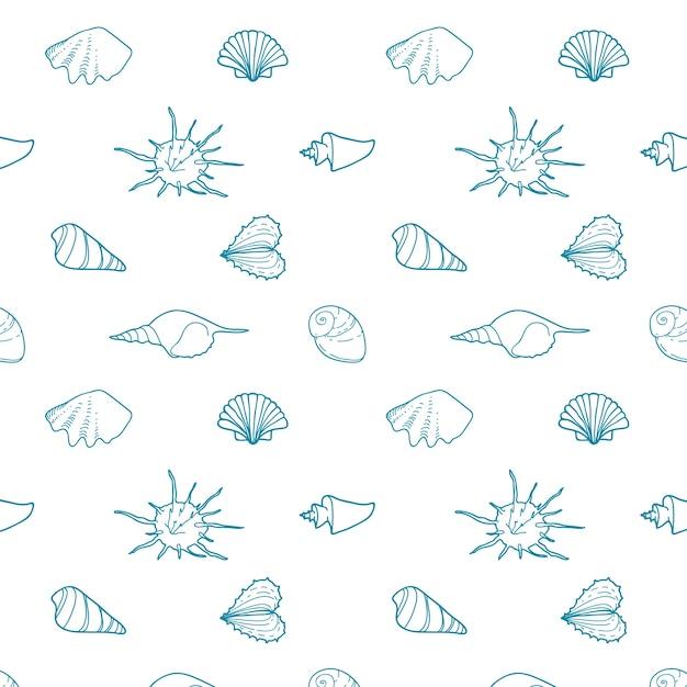 Padrão vetorial sem costura com conchas de várias formas. Vetor grátis