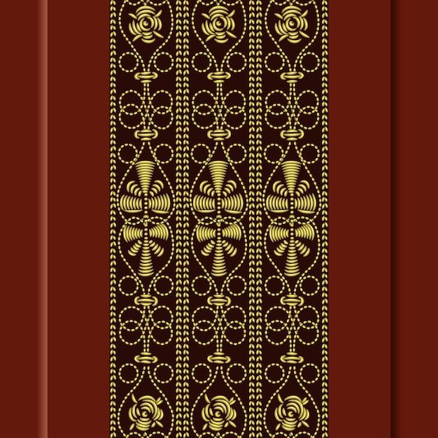 Padrão vintage tradicional, bordado de ouro: rosa, folhas, espirais em um fundo vermelho Vetor Premium