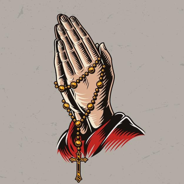 Padre orando mãos com contas de rosário Vetor grátis