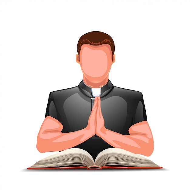 Padre rezando com livro Vetor Premium