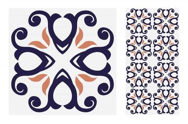 Padrões antigos de azulejos antigo design sem costura em ilustração vetorial Vetor Premium