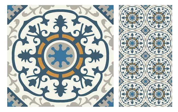 Padrões antigos de azulejos antigos design sem costura Vetor Premium