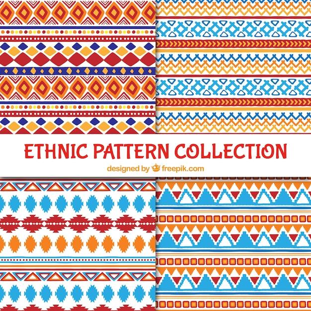 Padrões coloridos étnicos Vetor grátis