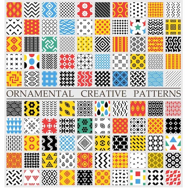 Padrões criativos multicoloridos Vetor grátis