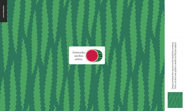 Padrões de alimentos, verão - frutas, textura de melancia, melão, verde claro e verde escuro, metade da imagem de melancia no centro, casca, pele, forma exterior - um padrão sem emenda de casca de melancia Vetor Premium