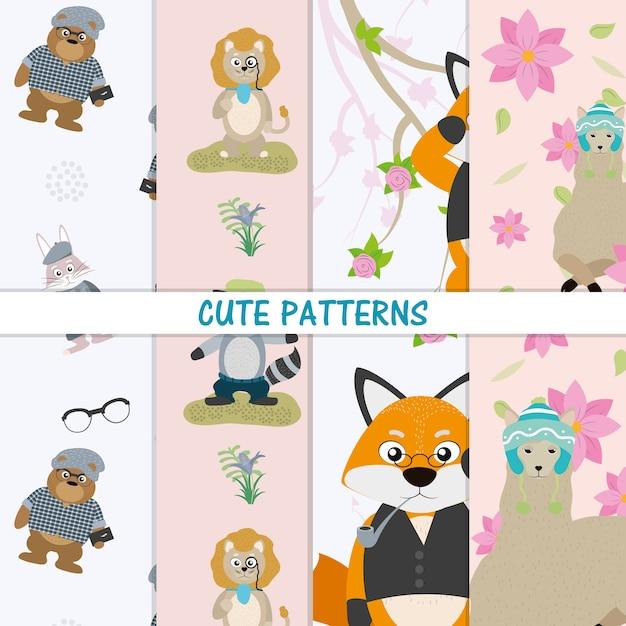Padrões de animais fofos vector design gráfico ilustração Vetor Premium