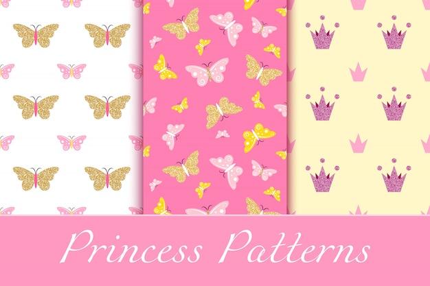 Padrões de bebê menina com coroas brilhantes e borboletas Vetor Premium