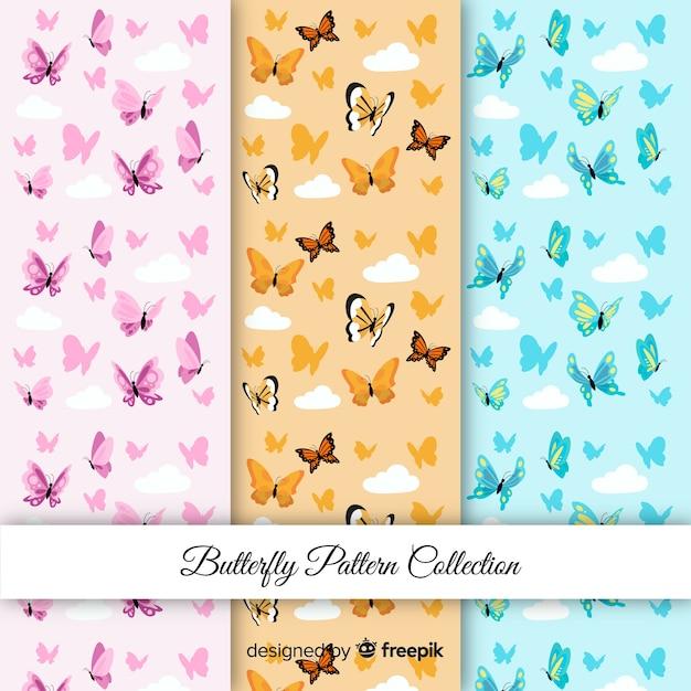 Padrões de borboletas coloridas Vetor grátis