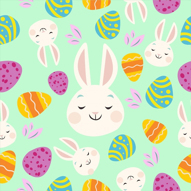 Padrões de coelho e ovo de páscoa coloridos Vetor Premium