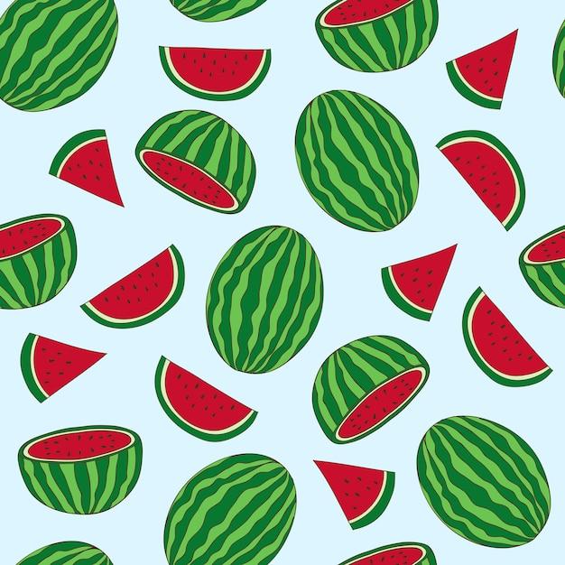 Padrões de fruta melancia mão desenhada Vetor Premium