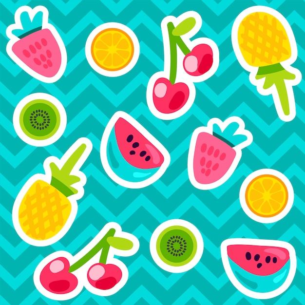 Padrões de frutas de verão Vetor Premium