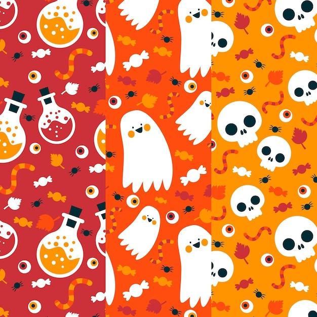 Padrões de halloween caveiras e fantasmas Vetor Premium
