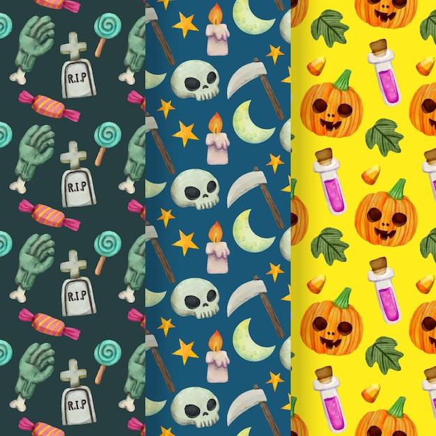 Padrões de halloween com caveiras e abóboras Vetor grátis