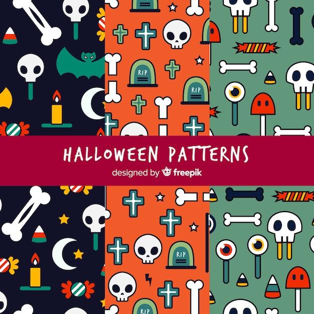 Padrões de halloween com desenhos Vetor grátis