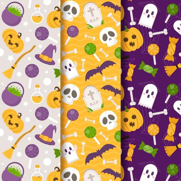 Padrões de halloween em design plano Vetor grátis