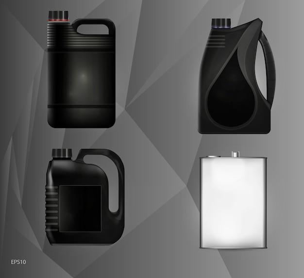 Padrões de latas de plástico e metal para óleo de motor e fluidos técnicos. ilustração. Vetor Premium
