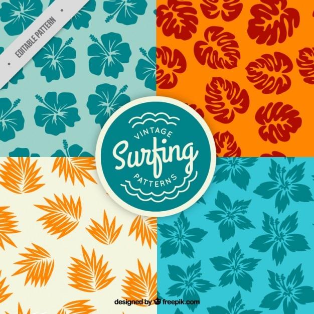 Padrões de surf florais Vetor grátis