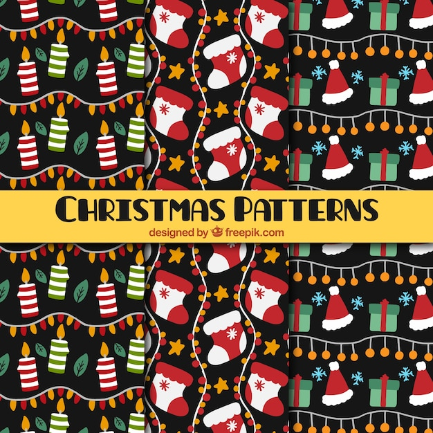 Padrões decoração do natal com elementos Vetor grátis