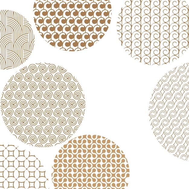 Padrões diferentes dourados geométricos redondos no branco Vetor Premium