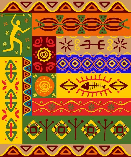Padrões étnicos abstratos e ornamentos para design Vetor Premium