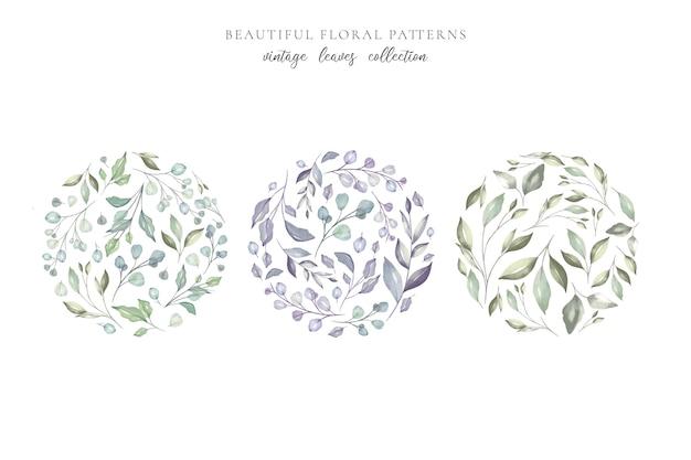 Padrões florais bonitos com folhas em aquarela Vetor grátis