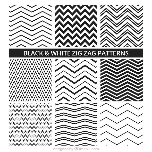 Padrões preto e branco zig zag Vetor grátis