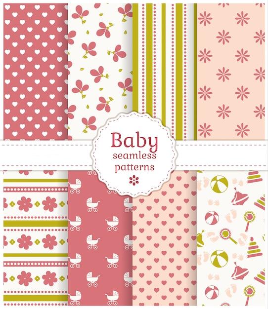 Padrões sem emenda de bebê. conjunto de vetores. Vetor Premium