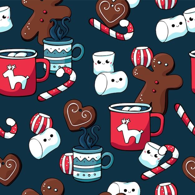 Padrões sem emenda de inverno natal com doces e bebidas quentes Vetor Premium