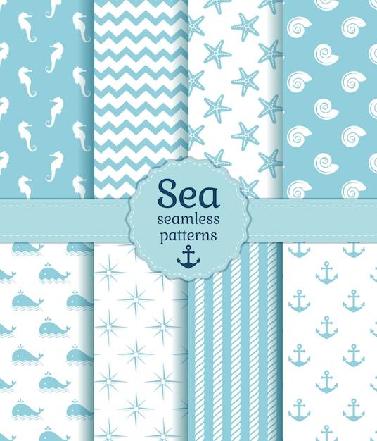 Padrões sem emenda do mar. coleção de vetores. Vetor Premium