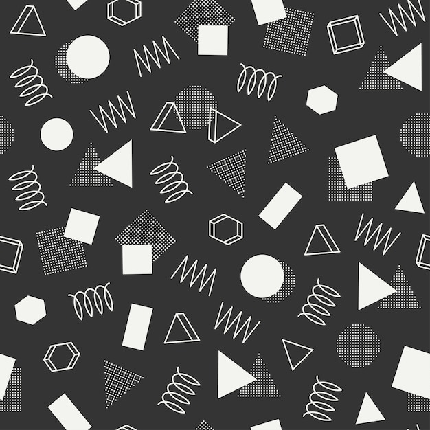 Padrões sem emenda geométricos de memphis. texturas de jumble abstratas. triângulo. Vetor Premium